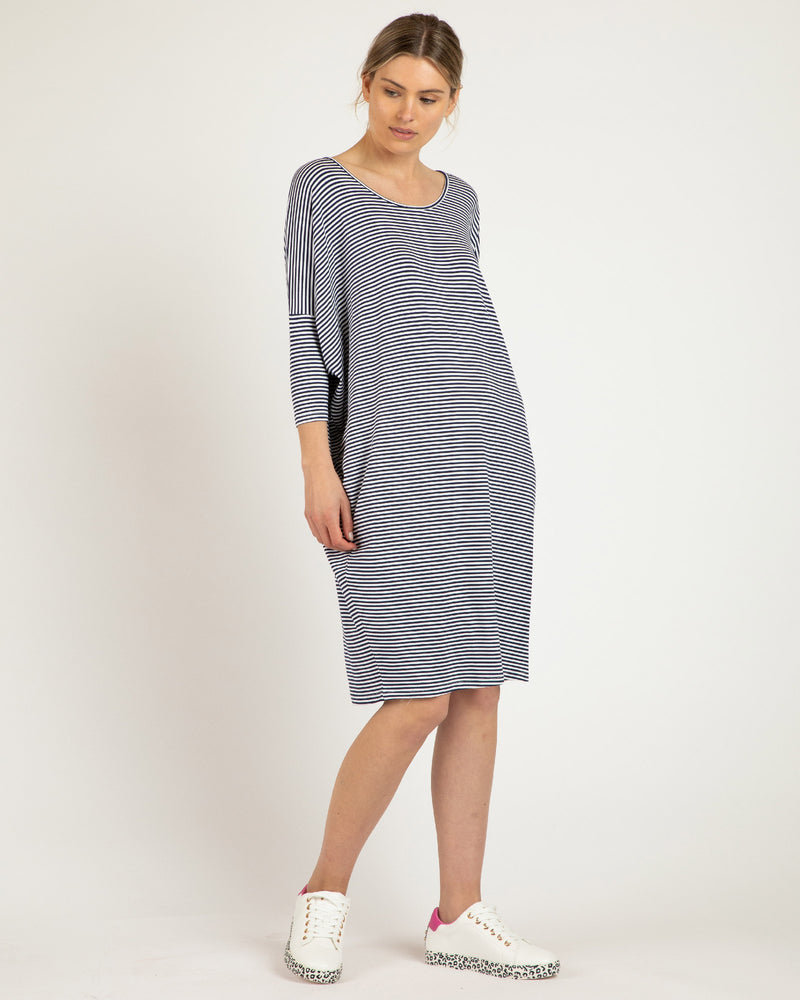Lucia Dress - Navy Blue/White Stripe