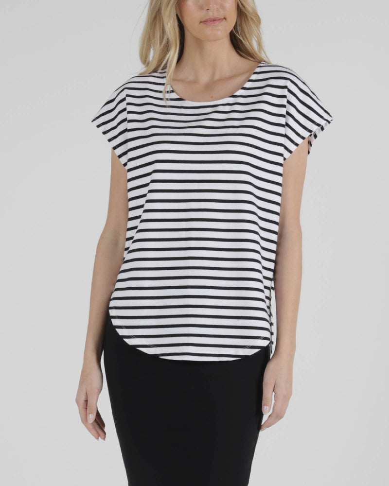 Tulip Top - White/Black Stripe