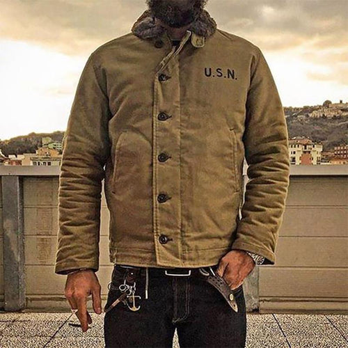 2020 NON STOCK Khaki N-1 Deck Jacket Vintage USN Military Uniform For Men N1