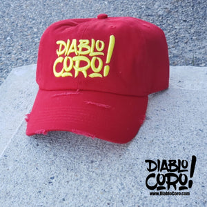 Red/Yellow Distressed Dad Hat