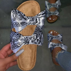 Beautiful White Bandana Bow Tie Slides