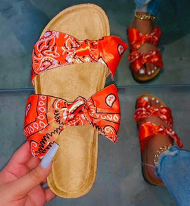 Beautiful Orange Bandana Bow Tie Slides