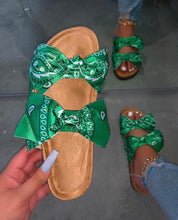 Load image into Gallery viewer, Beautiful Green Bandana Bow Tie Slides