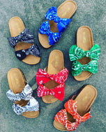 Beautiful Bandana Bow Tie Slides