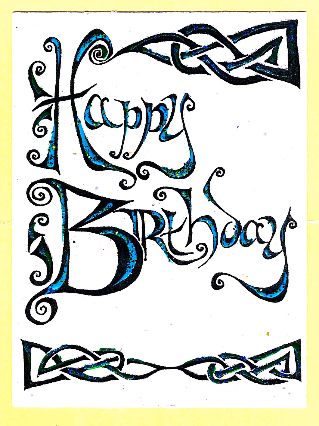 Oppenheimer - Assorted Handmade Birthday Cards, 4 Pack Colors Vary As Each Card Is Hand Colored/Decorated