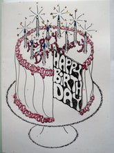 Load image into Gallery viewer, Oppenheimer - Assorted Handmade Birthday Cards, 4 Pack Colors Vary As Each Card Is Hand Colored/Decorated