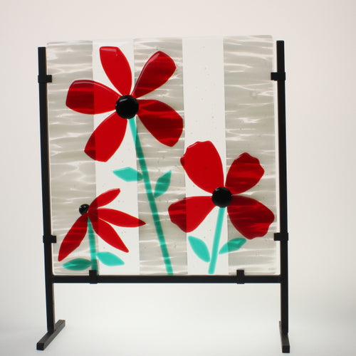 James - Flowers Fused Glass Sculpture w/Stand Red