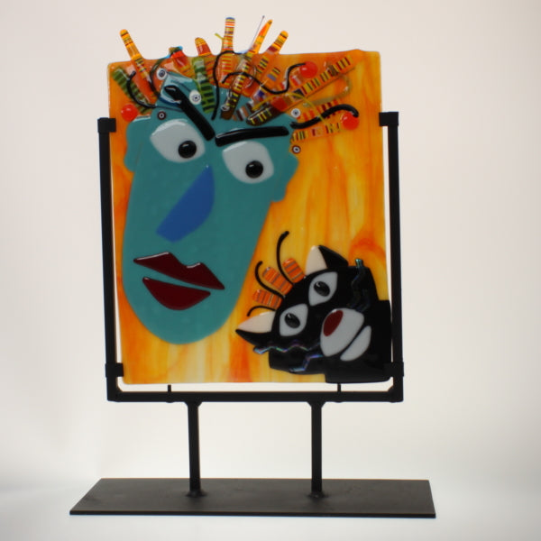 James - Cat Lady Fused Glass Sculpture w/Stand Teal