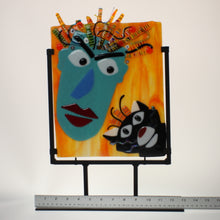 Load image into Gallery viewer, James - Cat Lady Fused Glass Sculpture w/Stand Teal