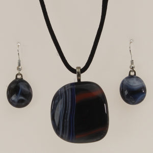 Carter - Necklace-Earring Set Black-Cobalt
