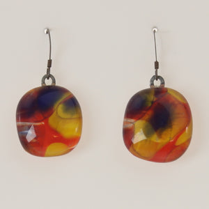 Carter - Earrings Yellow-Coral Red
