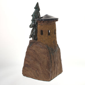 Hannaman - Tree Village Sculpture Cobalt-Teal Brown Earth Tone