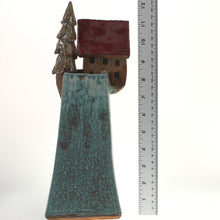 Load image into Gallery viewer, Hannaman - Tree Village Sculpture Baby Blue- Brick Red