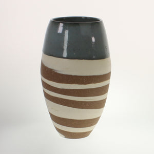 Metzger - Vase Blue Band, White Over Red Clay