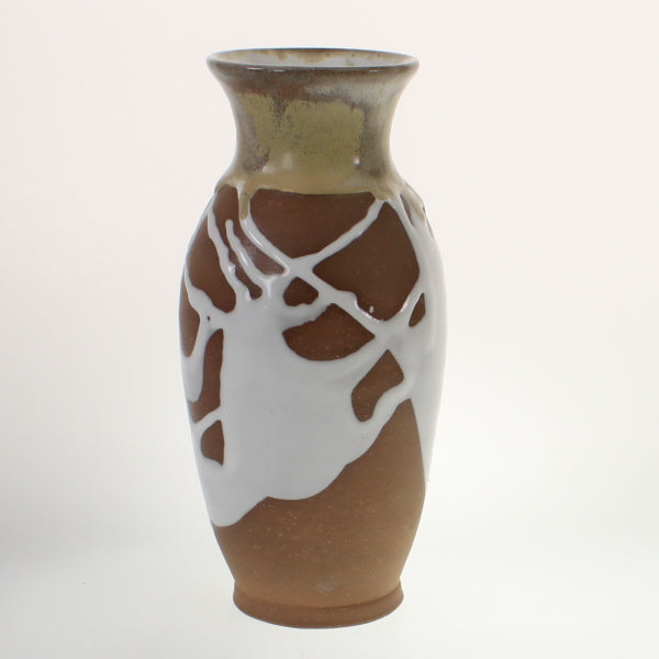 Metzger - Vase White Over Red Stoneware