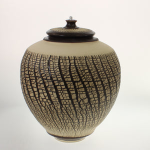 Powell - Urn With Oil Lamp Espresso Crackled Cream