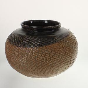 Powell - Wide Mouth, Decorated Vase Black To Brown