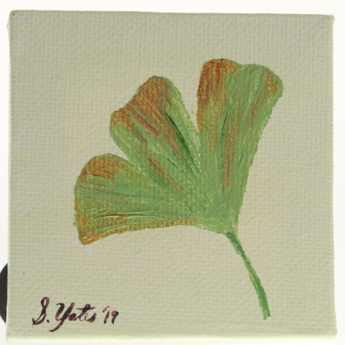 Yates - Tiny Painted Canvas - Ginkgo Leaf Green/Gold Ginkgo On Cream