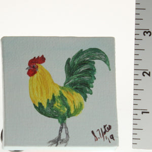 Yates - Tiny Painted Canvas - Rooster Green/Yellow On Whi