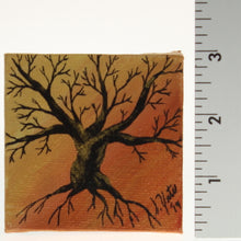 Load image into Gallery viewer, Yates - Tiny Painted Canvas - Leafless Tree Black/Gold/Orange