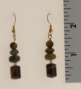 Chard-Multi Stone Earrings-Earth Tones