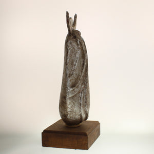 "Richards - ""Spirit Singer"" Aged Silver-Colored Patina On Wooden Base"