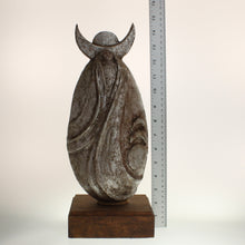 "Load image into Gallery viewer, Richards - ""Spirit Singer"" Aged Silver-Colored Patina On Wooden Base"