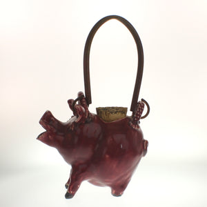 Greeson - Pig Tea Pot With Copper Handle Falu Red