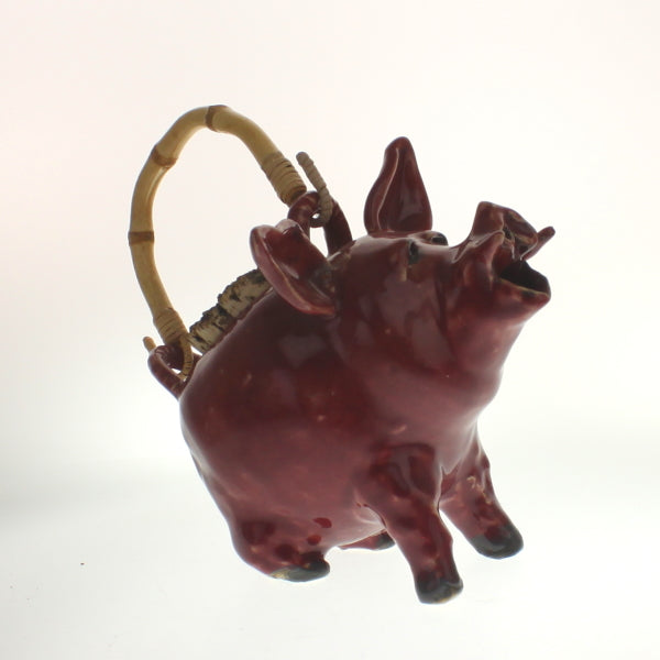 Greeson - Pig Tea Pot With Bamboo Handle Falu Red