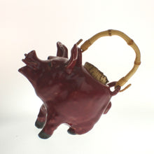 Load image into Gallery viewer, Greeson - Pig Tea Pot With Bamboo Handle Falu Red