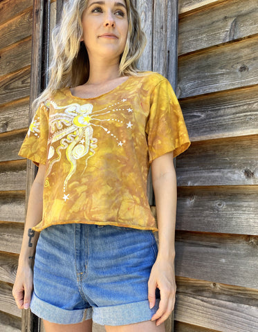 Sunshine Daydream Organic Cotton Handmade Batik Top - Small/Medium