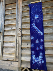 Starseed Moongazer - Hand Painted Organic Knit Fabric Scarf scarf batikwalla