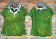 Dancing Green Meadow Batik Necklace Vneck - Size 5X - Batikwalla   - 6