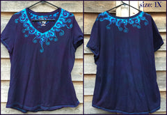 Purple and Turquoise Waves of Moonlight Handmade Batik Tee - Plus Size - 5X - Batikwalla   - 8