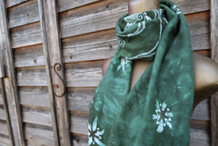 Tree of Life In Moss Green - Hand Painted Organic Knit Fabric Scarf scarf batikwalla