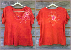 Brilliant Orange Moon Handmade Batik Vneck Tee - Batikwalla   - 7