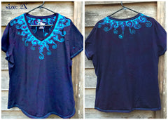Purple and Turquoise Waves of Moonlight Handmade Batik Tee - Plus Size - 5X - Batikwalla   - 9