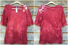 Soft Red Shoulder Swirls Sale Basket Top - Batikwalla   - 6