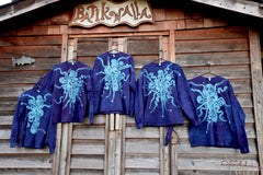 Midnight Moon Star Long Sleeve Batik Tshirt tshirt batikwalla