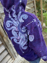 Starseed Moonbeams Purple Goddess Pullover Hoodie - Handcrafted Batik Creation hoodie batikwalla