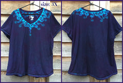 Purple and Turquoise Waves of Moonlight Handmade Batik Tee - Plus Size - 5X - Batikwalla   - 10