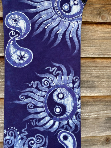 Justice and Hope In Blue and Purple -  Hand Painted Organic Cotton Batik Scarf