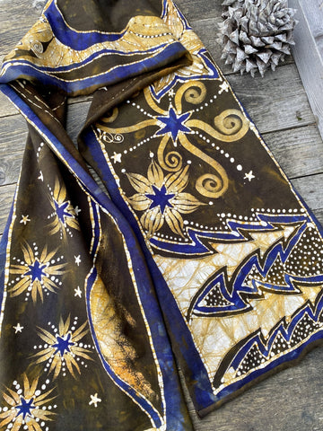 High Prairie Sunset Hand Painted Organic Cotton Batik Scarf