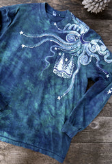 Teal Forest In My Pocket Hand Crafted Long Sleeve Batik Tshirt tshirt batikwalla