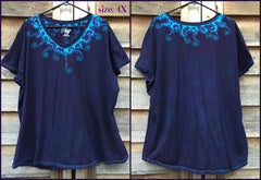 Purple and Turquoise Waves of Moonlight Handmade Batik Tee - Plus Size - 5X - Batikwalla   - 7