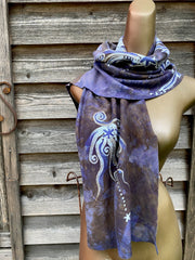 Tree and Moon Hand Painted Organic Knit Fabric Scarf scarf batikwalla