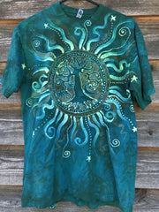 Solstice Radiance Tree of Life Organic Cotton Tshirt in Life Giving Green tshirt batikwalla