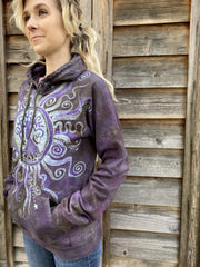 Sage Goddess Purple Tree Of Life Pullover Batik Hoodie - Handcrafted In Organic Cotton hoodie batikwalla