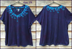 Purple and Turquoise Waves of Moonlight Handmade Batik Tee - Plus Size - 5X - Batikwalla   - 6