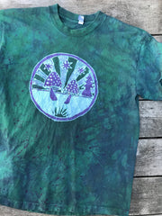 Meadow Mushrooms In Teal and Purple Handmade Batik Tshirt - Size Large tshirt batikwalla